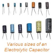 Electrolytic capacitor various sizes