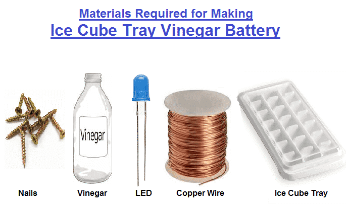 Material required for making Ice Cube Tray Vinegar Battery