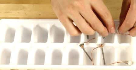 Placing Nails in the Ice Tray