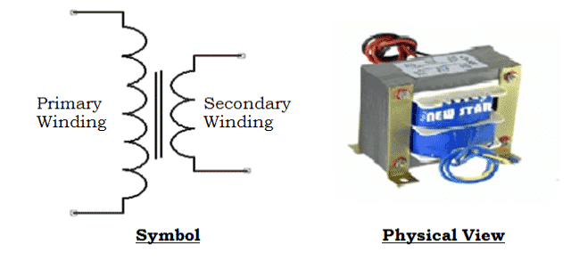 Symbol and Physical View of Single Phase Step Down Transformer